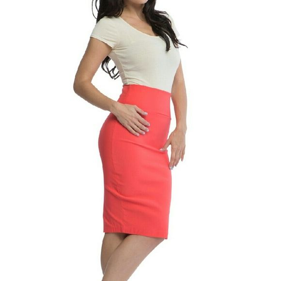 SALE coral skirt Stretch coral skirt Skirts