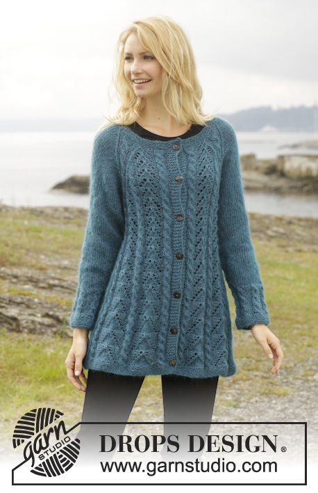 "Blue For You - Knitted DROPS jacket with cables, lace pattern and raglan in ""Alpaca"" and ""Kid-Silk"". Size: S - XXXL. - Free pattern by DROPS Design"