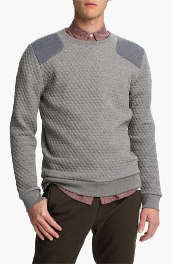 Topman Quilted Crewneck Sweatshirt | Nordstrom