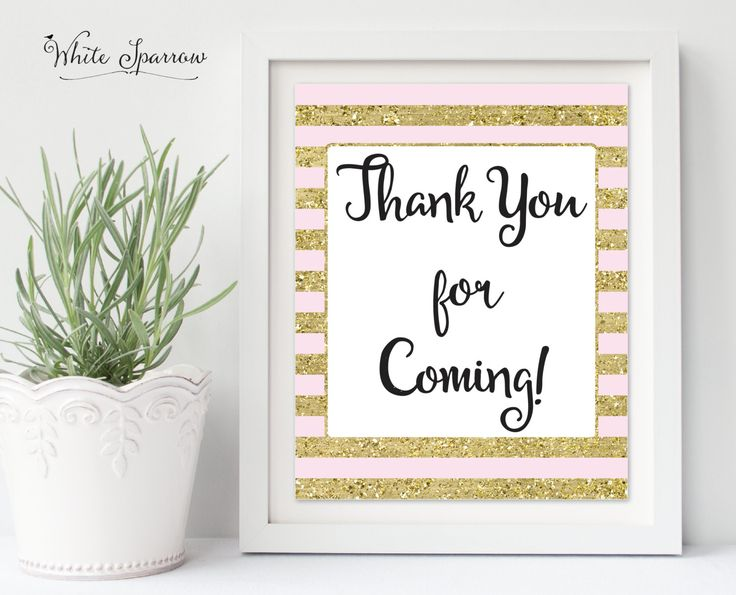 Thank you for coming sign, Gold Bridal Shower Sign. Bridal Shower Decorations. Gold Bridal Shower. Bridal Shower Thank you. Gold Shower Sign by WhiteSparrowPrints on Etsy