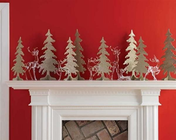 Christmas Mantel Decor Inspiration Pics - Fireplace Mantels Decor For Christmas With Glass Deer And Flat Trees