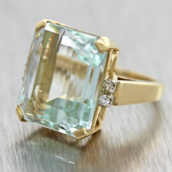 $10,500 Vintage Solid 14k Yellow Gold 18.37ctw Aquamarine Cocktail Ring