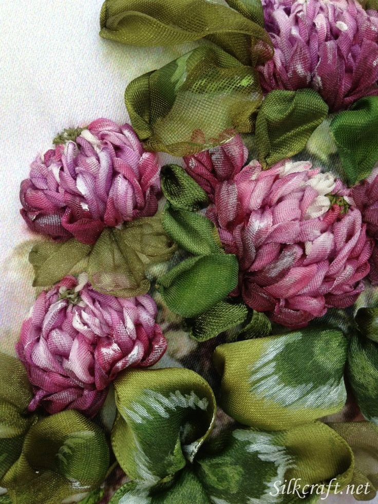 Fragrant Clover   Silk ribbon Embroidery - It is simply amazing what silk ribbon can become.