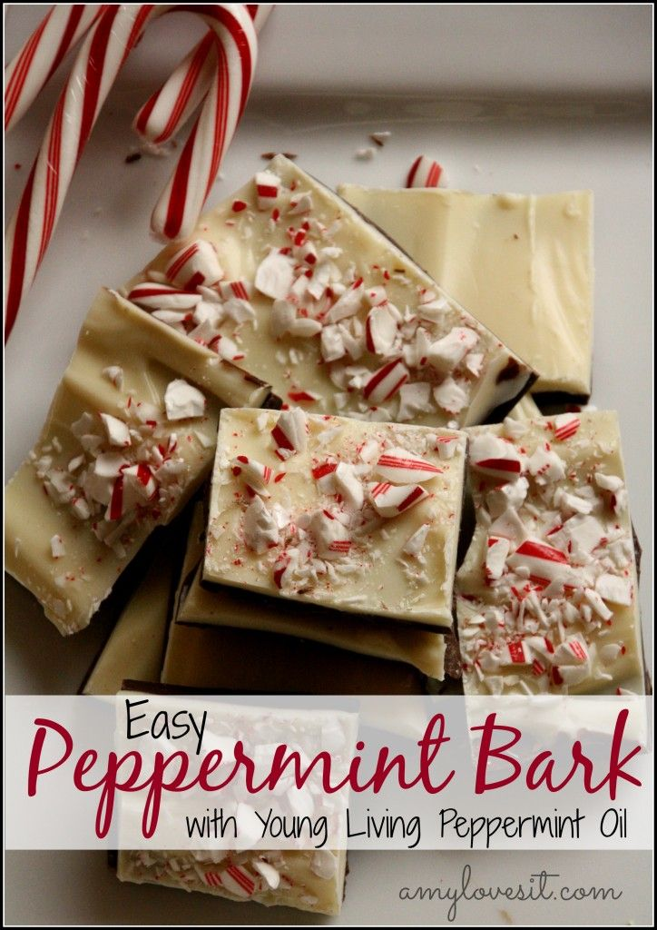 easy peppermint bark made with peppermint essential oil- this would make a great Christmas gift!