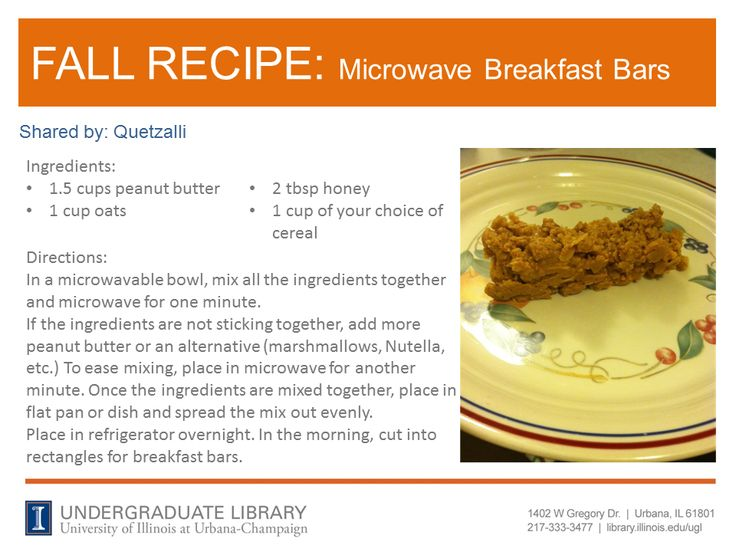 Microwave Breakfast Bars recipe from Quetzalli. Cookbook recommendation: The Healthy College Cookbook : Quick, Cheap, Easy by Alexandra Nimetz (http://ow.ly/pT0FK)