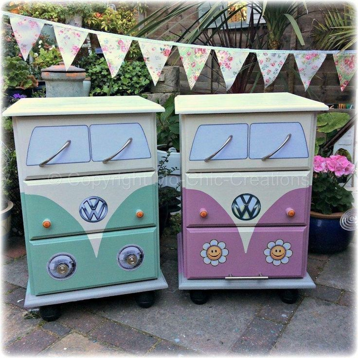 Love this for my daughters room!   DIY dresser Volkswagen bus hippie – imagine this in a kids room with peace sign bedding.