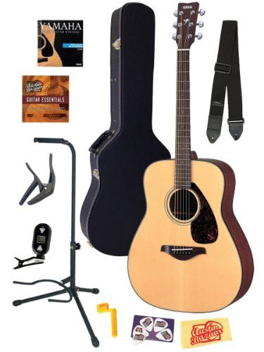 Yamaha FG700S Folk Acoustic Guitar Bundle with Hard Case, Strap, Stand, Tuner, Strings, Picks, Capo, String Winder, and Instructional DVD - ...