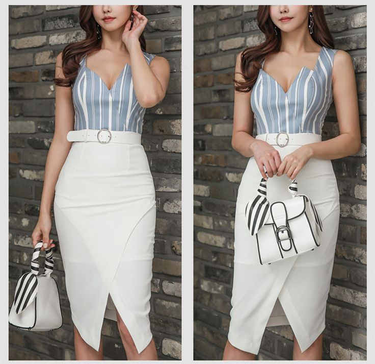 H Han Queen Vestido Slim V neck Sexy Split Sleeveless Striped Casual Work Bodycon Women Formal Pencil Dress-in Dresses from Women's Clothing & Accessories on Aliexpress.com   Alibaba Group