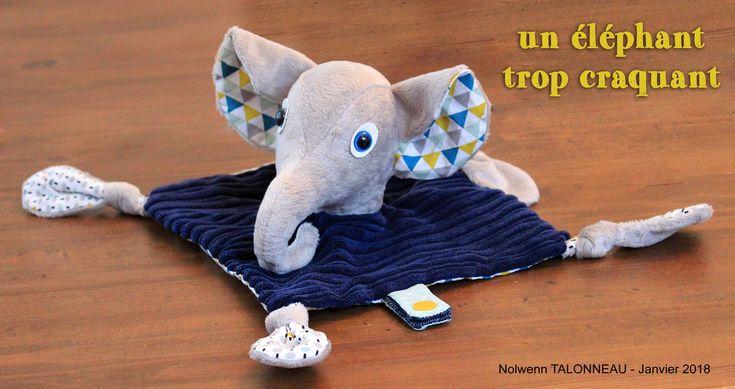 couture doudou plat - doudou éléphant - doudou garçon