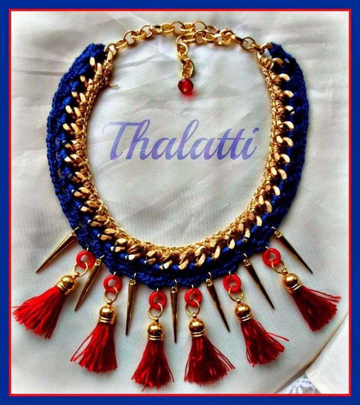 Θαλάττη: Statement neclace: Blue and red