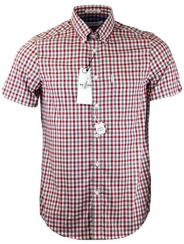 BEN SHERMAN Retro Mod S/S Multi Gingham Shirt in Off White