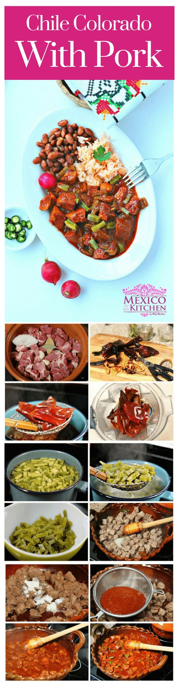 "Chile Colorado is a pepper & a dishthat is very popular in the gastronomies of the northern states of Mexico. It is also known as ""Chile de la Tierra"", ""Chile Seco del Norte"", ""Chile de Sarta"", and many other names that vary by region in that part of the country. #homecook #kitchen #pork #mexicanrecipes"