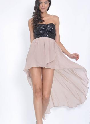 Contrast Hi-Lo Draped Dress with Black Sequin Bandeau Top,  Dress, hi-low dress  sequin dress, Chic