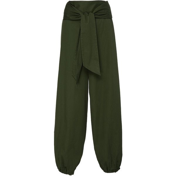 Alexis     Janes Belted Pant (£240) ❤ liked on Polyvore featuring pants, green, alexis pants, highwaist pants, elastic cuff pants, high waisted trousers and green trousers