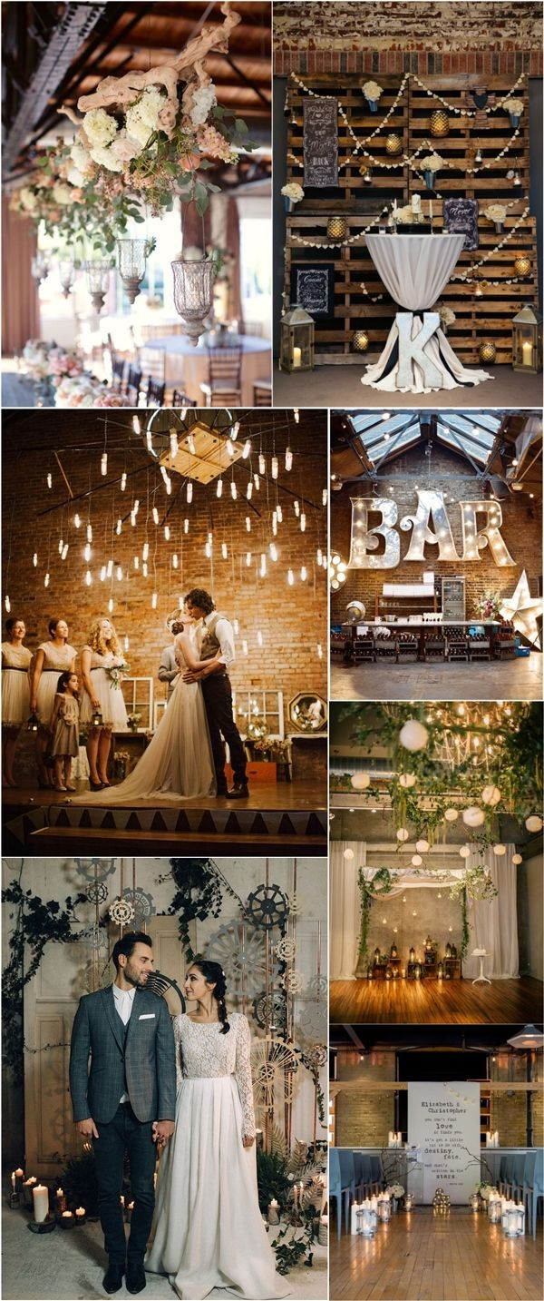 Rustic country indoor industrial wedding ideas / http://www.deerpearlflowers.com/industrial-wedding-ceremony-decor-ideas/2/