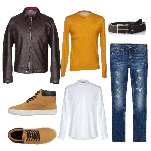 newest 12921 29c8e Giacca marrone, maglia ocra e camicia bianca su jeans blu ...
