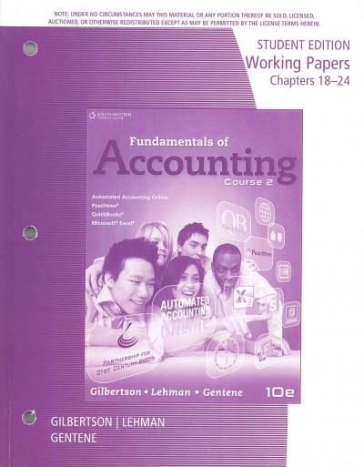 Fundamentals of Accounting Course 2: Chapters 18-24
