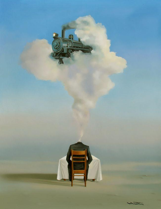 Rene Schute Original Oil Painting Surrealism Contemporary