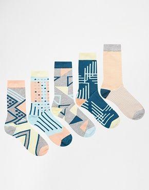 Urban Eccentric Graphics Socks In 5 Pack