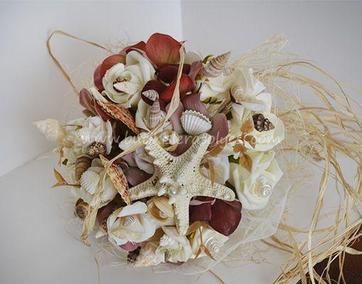 bordo deniz kabuklu buket – 3209
