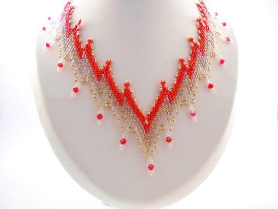 Seadbeady Rode Bargello Ketting met Swarovski Kristal door Seadbeady