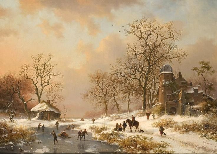 Dutch Winter Scene Artist: Frederik Marinus Kruseman (1816-1882, Dutch) Materials/Techniques: Oil on canvas