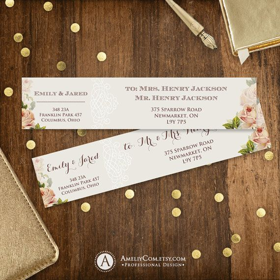 Rustic Address Labels Printable Instant Download Neutral Floral DIY Wrap Around Address Label Stickers Template Editable for A6, A7 envelope