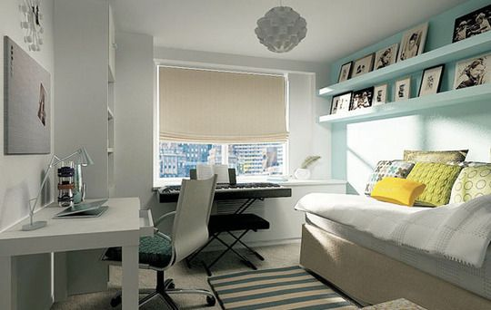 love the long, high shelving in this combo office/guest room
