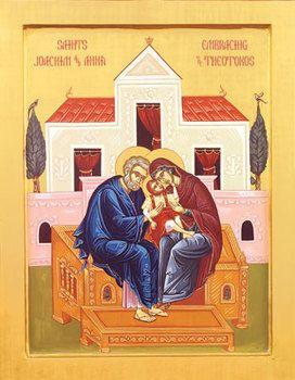 Saints Joachim and Anna Embracing Panagia (Mary)