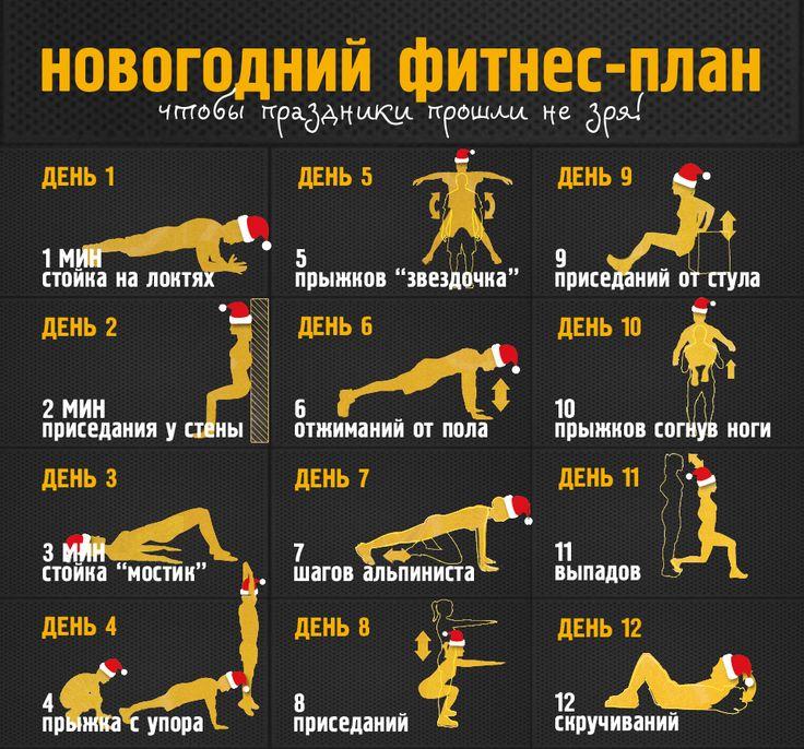 Новогодний фитнес-план на 12 дней: начиная с 1 дня, прибавляйте по 1 новому упражнению каждый день, собрав все 12 к 12 дню. Отличный способ начать заниматься фитнесом с нового года!