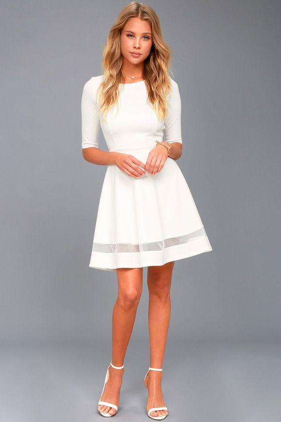 203dd3e4e39f Sheer Factor White Mesh Skater Dress in 2019