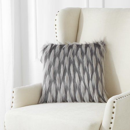 Better Homes And Gardens Black And Grey Faux Fur Throw Pillow Image 2 of 2