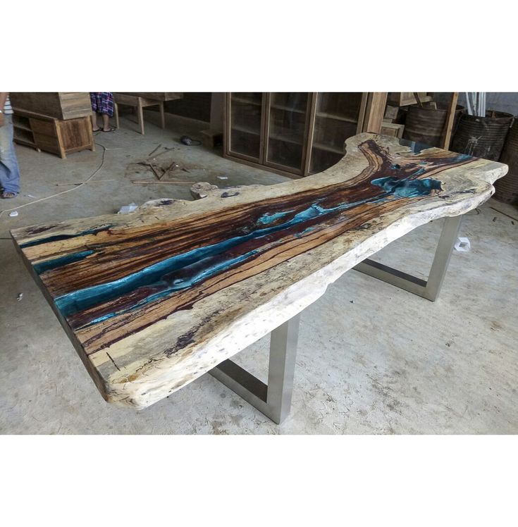 Stunning live edge river resin table. One of a kin…