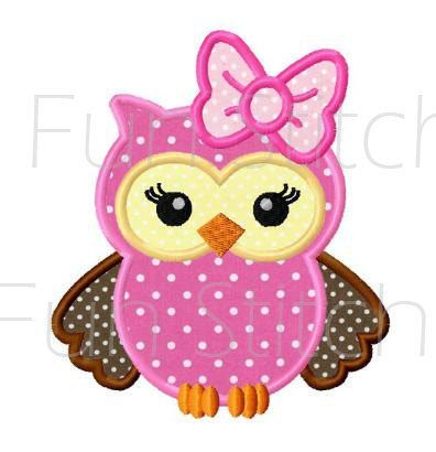 Girl owl applique machine embroidery design by FunStitch on Etsy