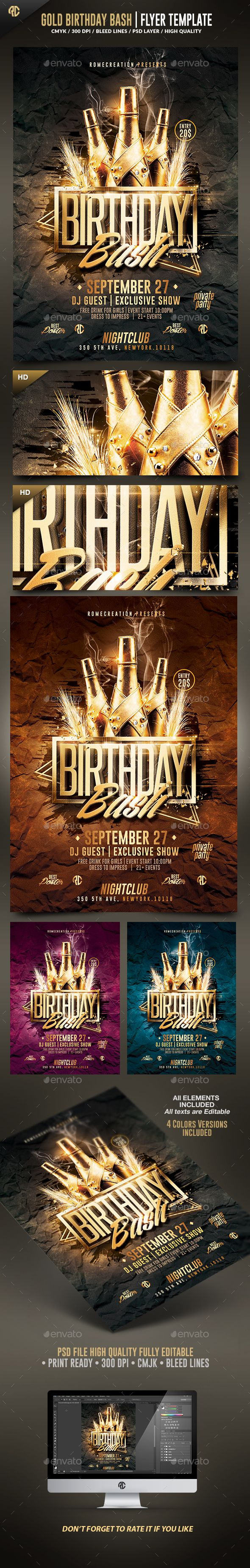Poster design hd - Gold Birthday Bash Flyer Template Psd Design Download Http Graphicriver
