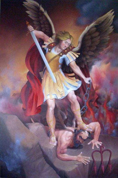 San Miguel Arcángel derrotando a Lucifer: