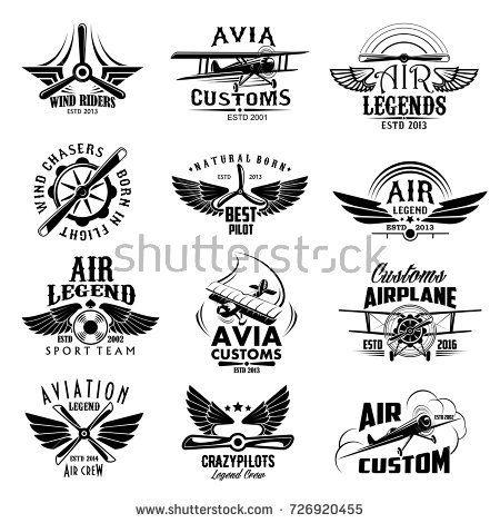 Avia customs and retro aviation symbols of airplane