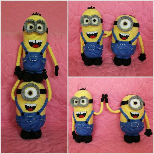 Amiguri Minions from Crochet Corner: free pattern and detailed tutorial photos in linked posts. Suggestion to use pipe cleaners to make arms posable.