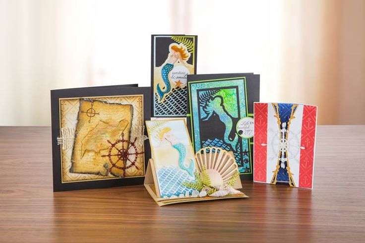 Under the sea, under the sea! Bunch of stunning #card designs from the Sea Siren Collection. Shop the range now!: http://www.createandcraft.tv/papercraft/dies+and+storage/dies/couture+collection--sea+siren.aspx?icn=Sea_Siren&ici=Couture_Sea_Siren #papercraft #cardmaking