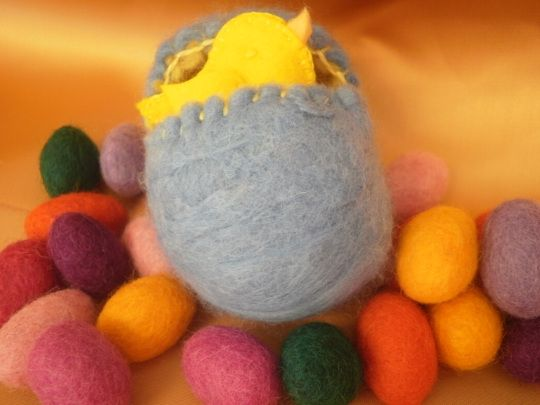 hollow felted egg with hand sewn chick