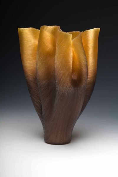 Stunning Vase made of fine Glass Threads by Toots Zynsky