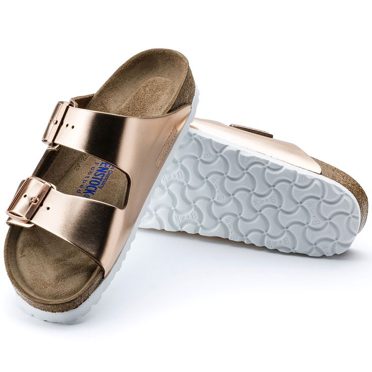 Arizona Glad leer Soft footbed Metallic Copper