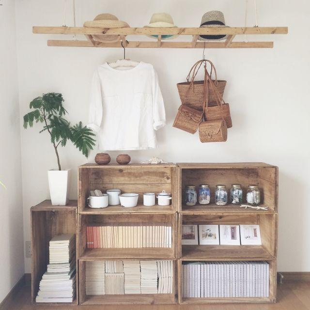 asamiさんの、DIY,ラダー,エバーフレッシュ,帽子,りんご箱,ベッド周り,のお部屋写真