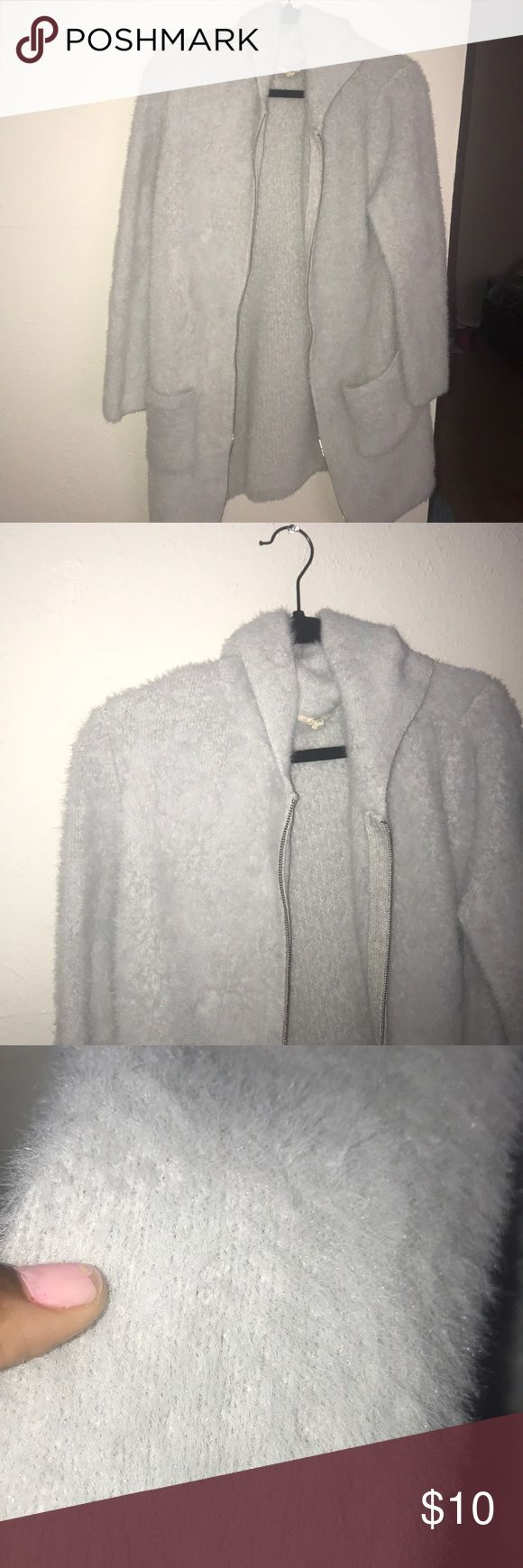 Light grey Sweater Faux fur material light grey sweater with hood Sweaters Cardigans