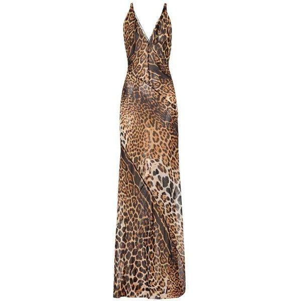 Saint Laurent Leopard-Print Silk Dress (3,740 NZD) ❤ liked on Polyvore featuring dresses, brown, midi & long, yves saint laurent, leopard dresses, brown silk dress, brown dresses and leopard print dresses