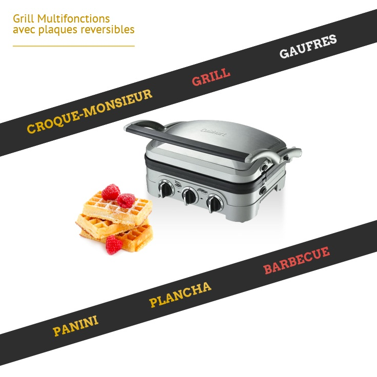 Grill Multifonctions : Croc-Monsieur - Panini - Barbecue - Plancha - Gaufres - Grill