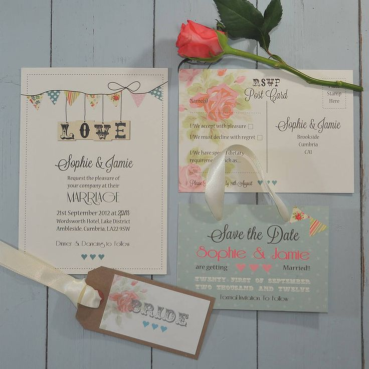 country bunting wedding stationery range by papergrace | notonthehighstreet.com