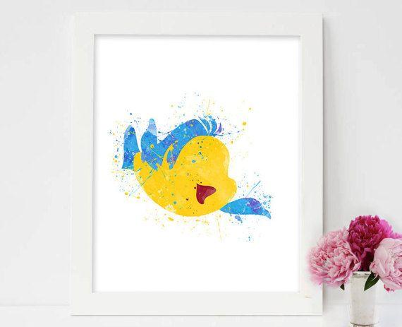 Flounder Print, Little Mermaid Disney Watercolor Art, Baby Girl Nursery Wall Art Decor, Kids Bedroom Decor, Watercolor art