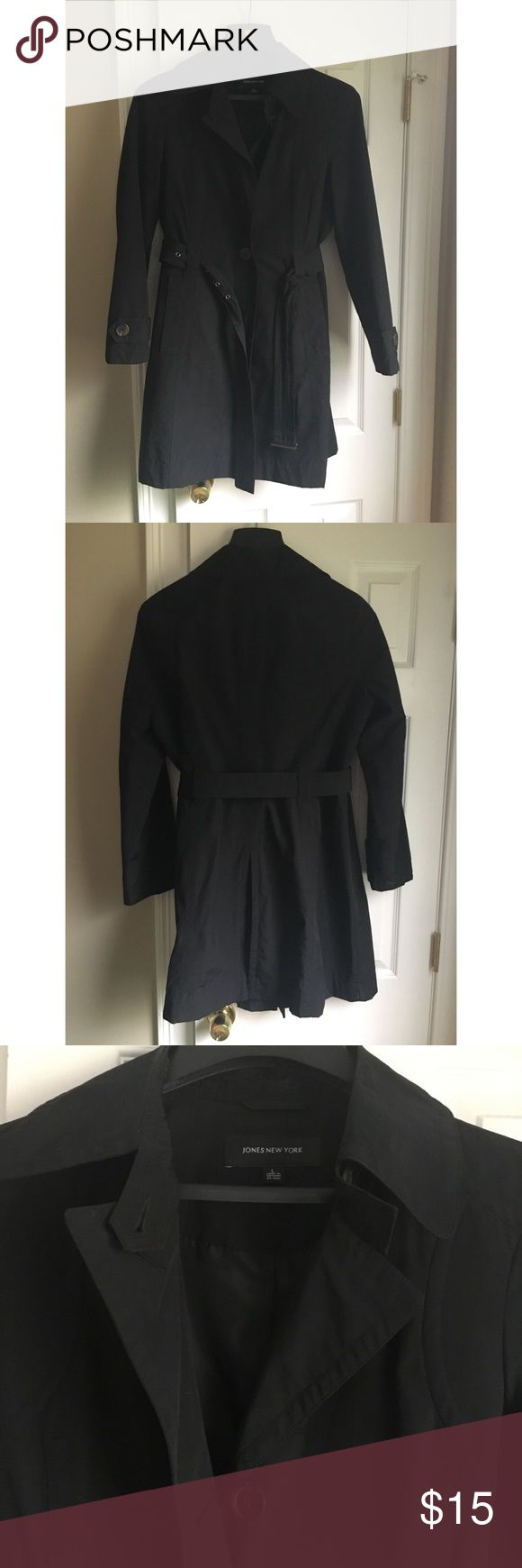 Women's rain coat Black mid length rain coat Button down belted waist Front pockets Jones New York Jackets & Coats Trench Coats