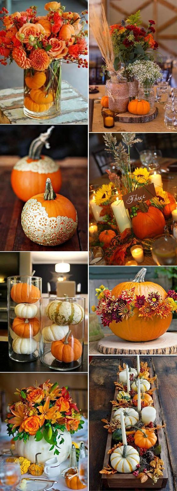 Orange color accents for fall country wedding on a budget with PUMPKINS 2019 Oct…